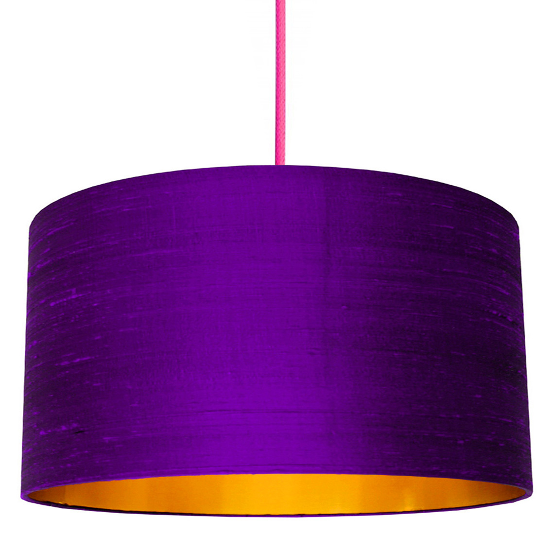 Ultra Violet Indian Silk Lampshade With Gold Lining Love