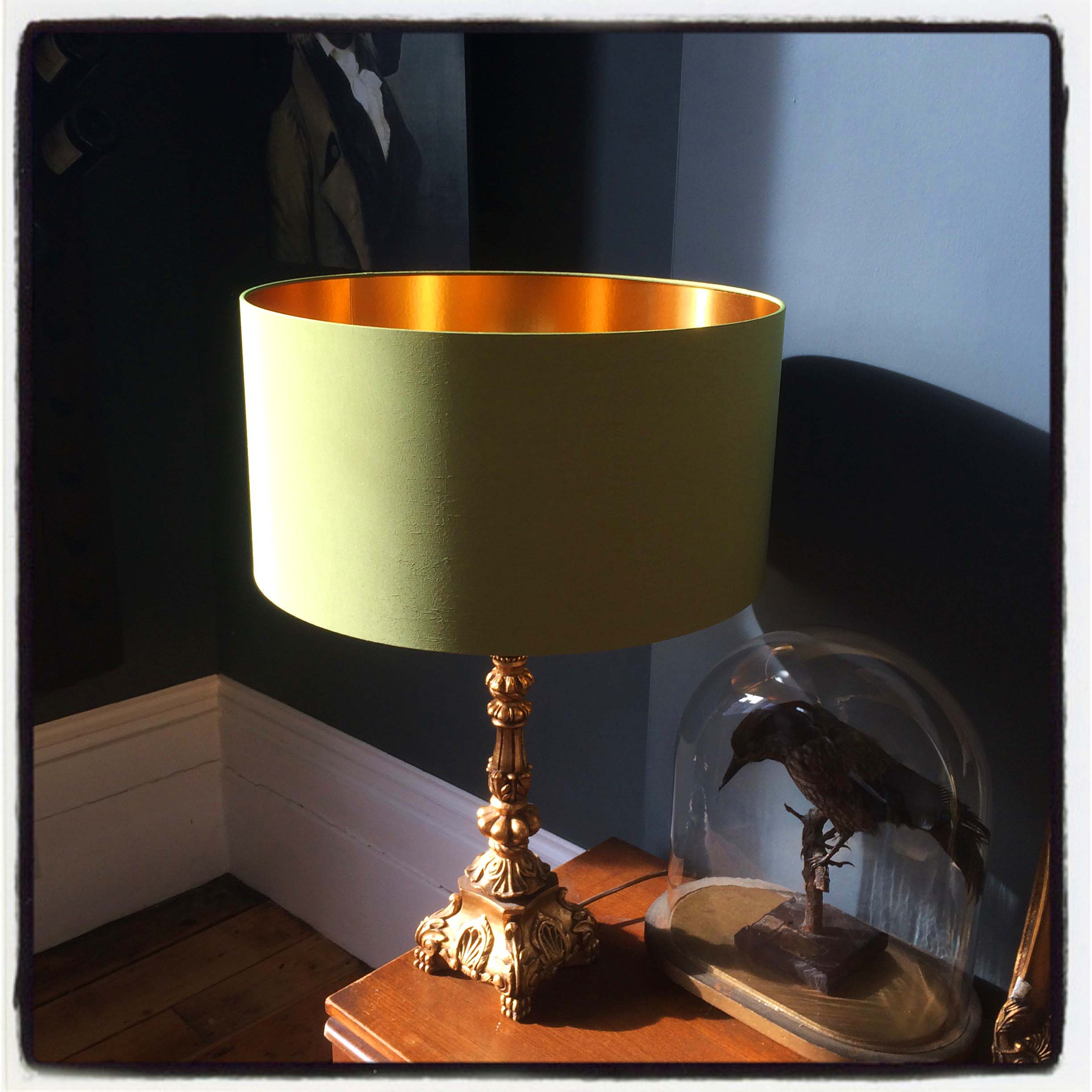 Chartreuse Handmade Lampshade with Gold Lining | Love Frankie