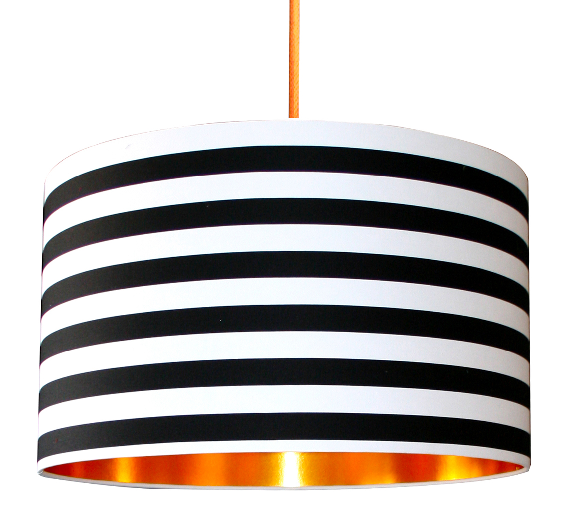 Circus stripes monochrome lampshade with gold lining love frankie black white circus striped lampshade mozeypictures Image collections
