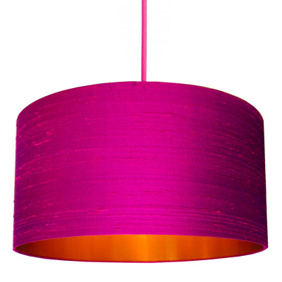 Hot Pink Indian Silk Lampshade with Brushed Copper Lining