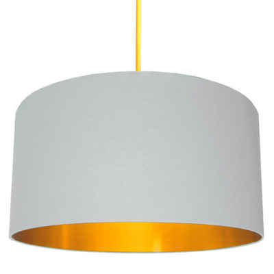 Cloud Grey Cotton Lampshade with Gold Lining designed by Love Frankie, Creative Lighting & Interiors Store
