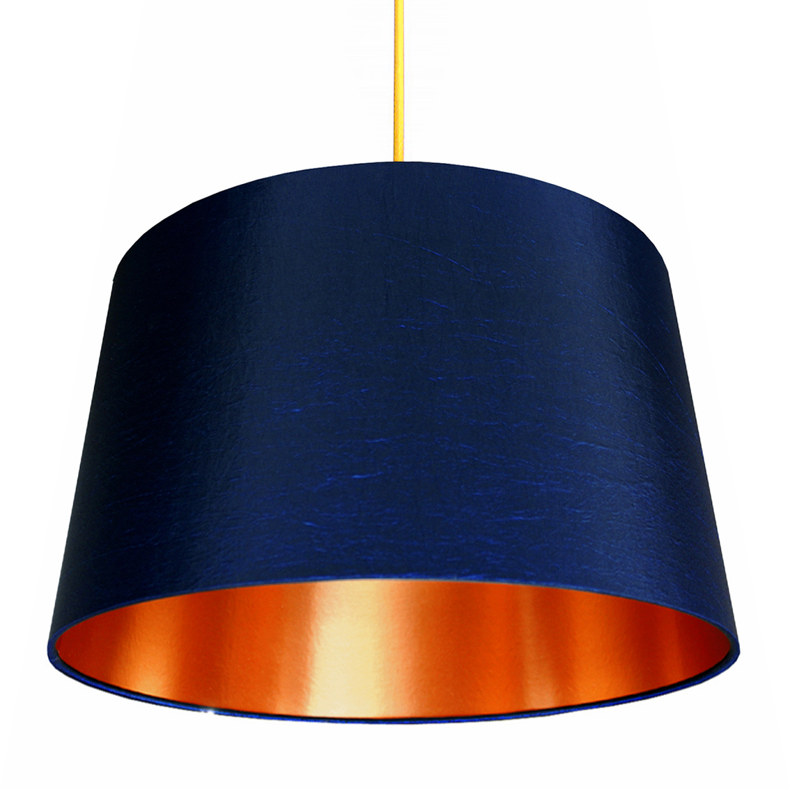 French Drum Lampshade In Midnight Blue With Brushed Copper