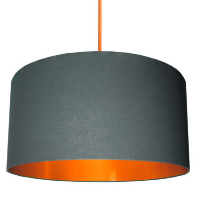 Slate Grey Cotton Lampshade with Brushed Copper Lining designed by Love Frankie Creative Lighting & Interiors Store