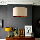 brushed copper and silk dupion lampshade in pebble love frankie