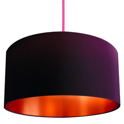 damson and brushed copper lampshade