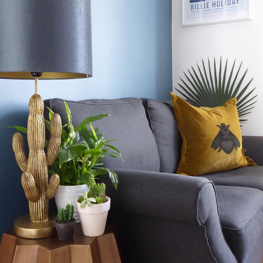 Our Cactus Lamp with gunmetal and gold shade looking super cool @thenewsaintly pad
