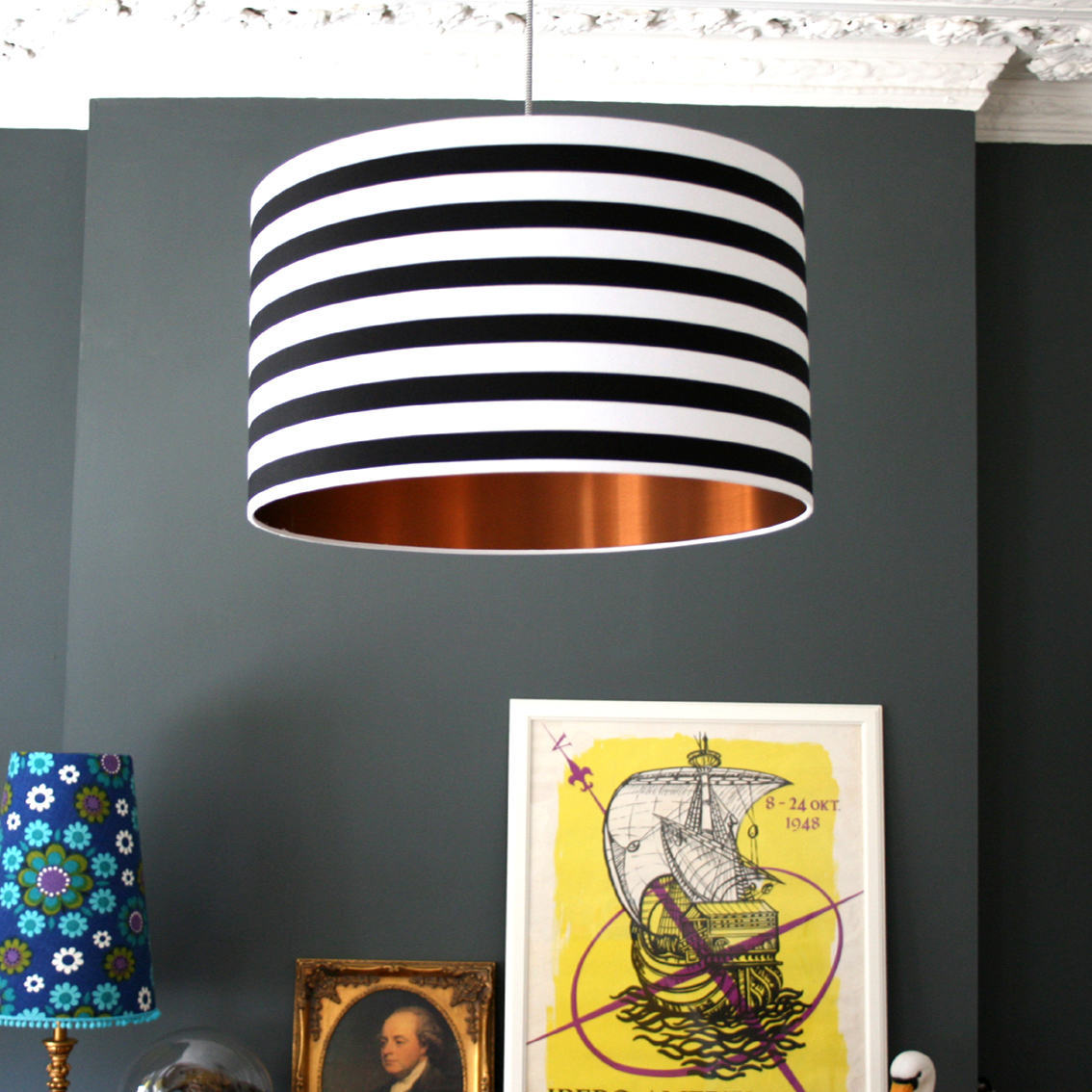 Circus stripes monochrome lampshade with brushed copper lining black and white striped lampshade mozeypictures Image collections