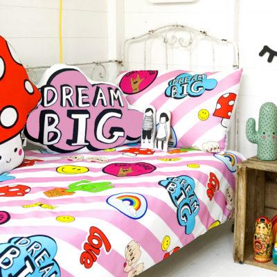 dream big cushion in pink