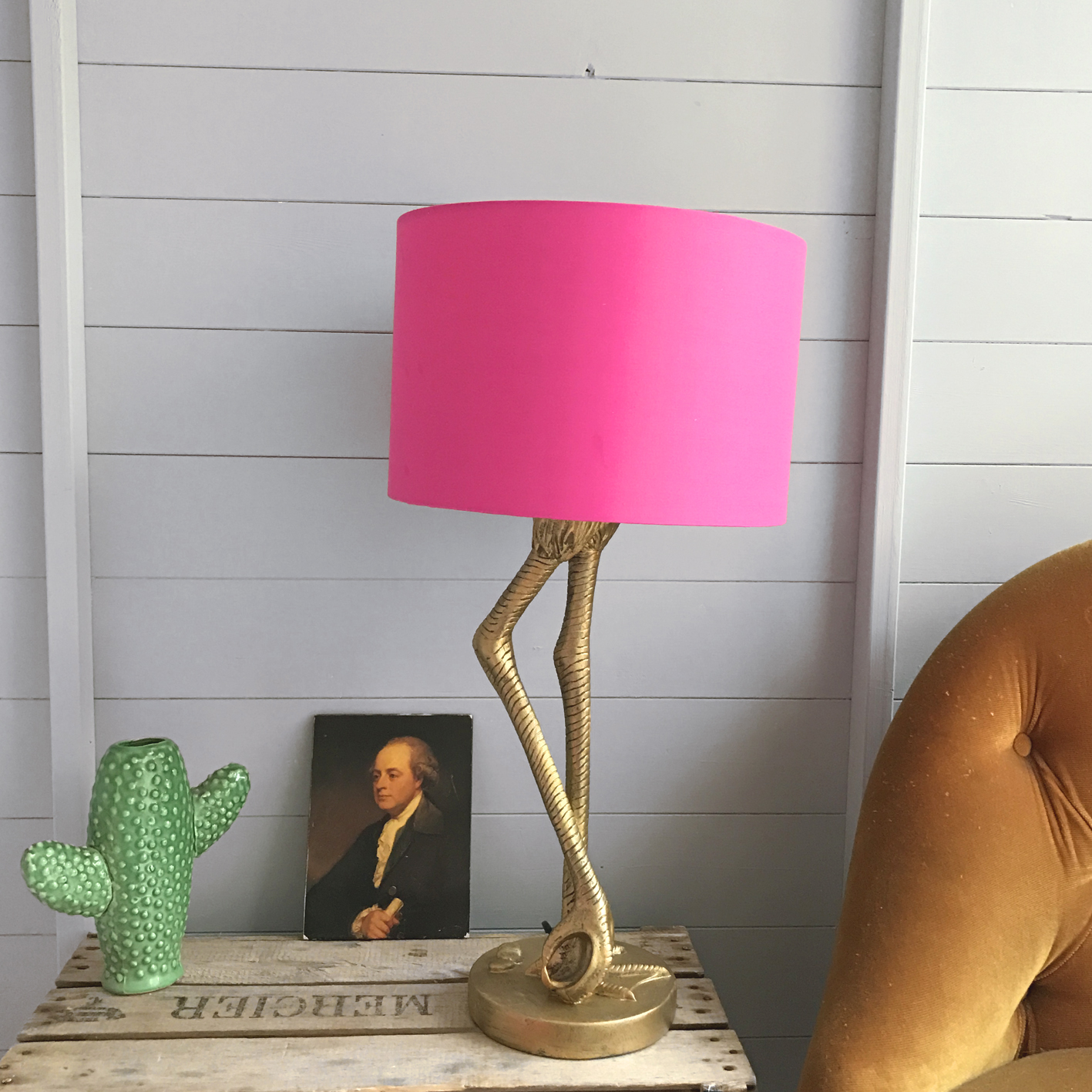 Flamingo Lamp In Antique Gold With Hot Pink Shade
