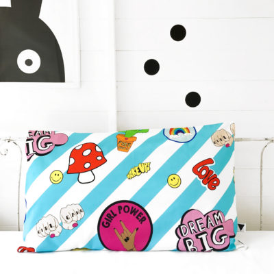 girl gang blue pillow case
