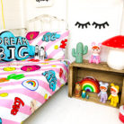 girl gang kids bed linen in bubblegum pink