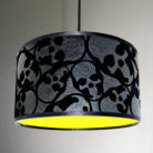flocked skull lampshade in jet black with neon lining