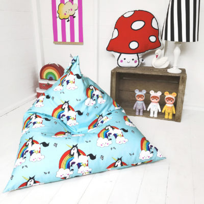 unicorn and rainbow childs beanbag