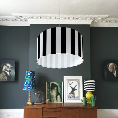 beetle juice black and white striped lampshade
