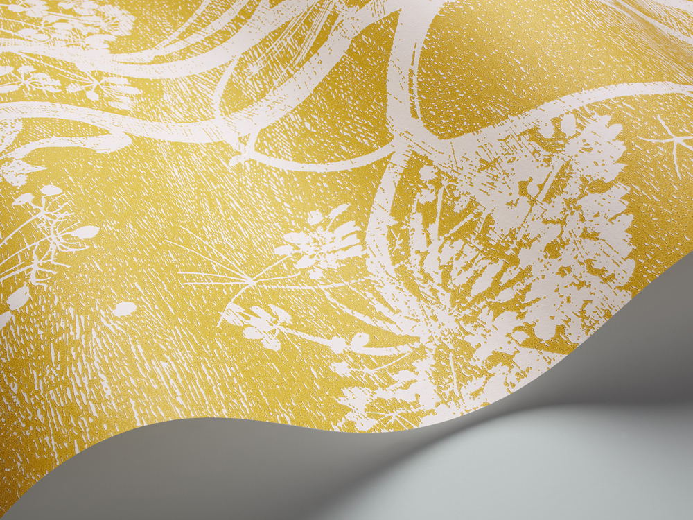 Cole Amp Son Cow Parsley Silhouette Lampshade In Mustard Yellow