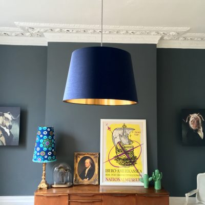 French drum lampshade in Midnight blue and Gold