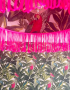 Tropical Silhouette Lampshade in Neon Pink With Neon Pink Fringing