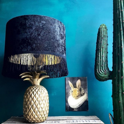 crocodile velvet gold lining and black fringing lampshade