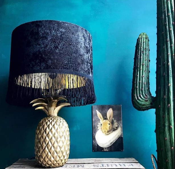 Inky Black Crocodile Print Velvet Lampshade With Gold