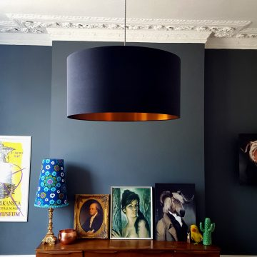 Black and copper lampshade