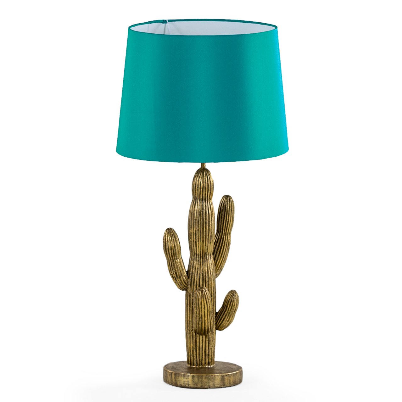 Cactus Lamp In Antique Gold With Teal French Drum Shade