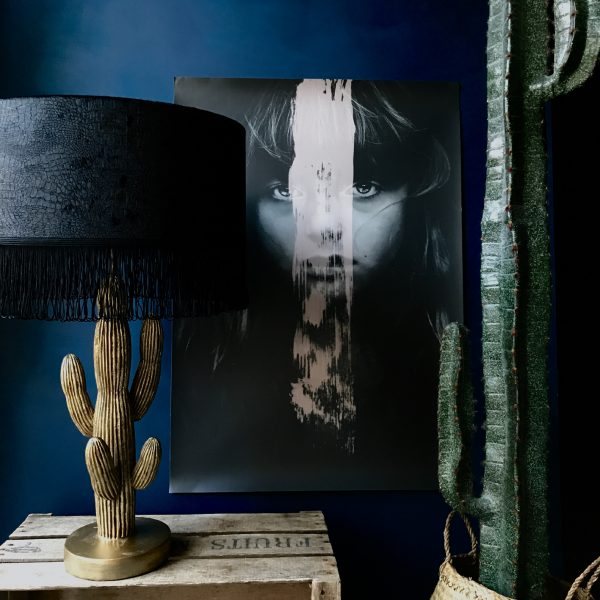 Crocodile Velvet Lampshade in Inky Black with fringing
