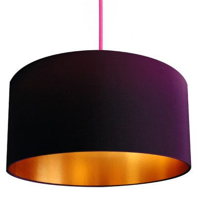 Damson and gold lampshade