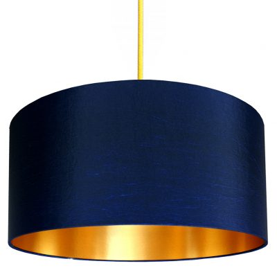 Midnight blue and gold lampshade