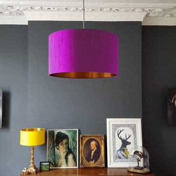 Parma Violet Lampshade with Copper Lining