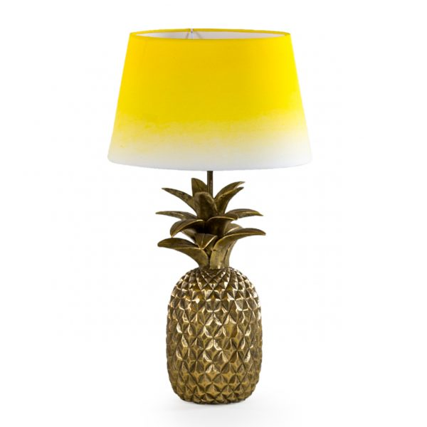 Pineapple Lamp in Antique Gold with Yellow Ombre Shade