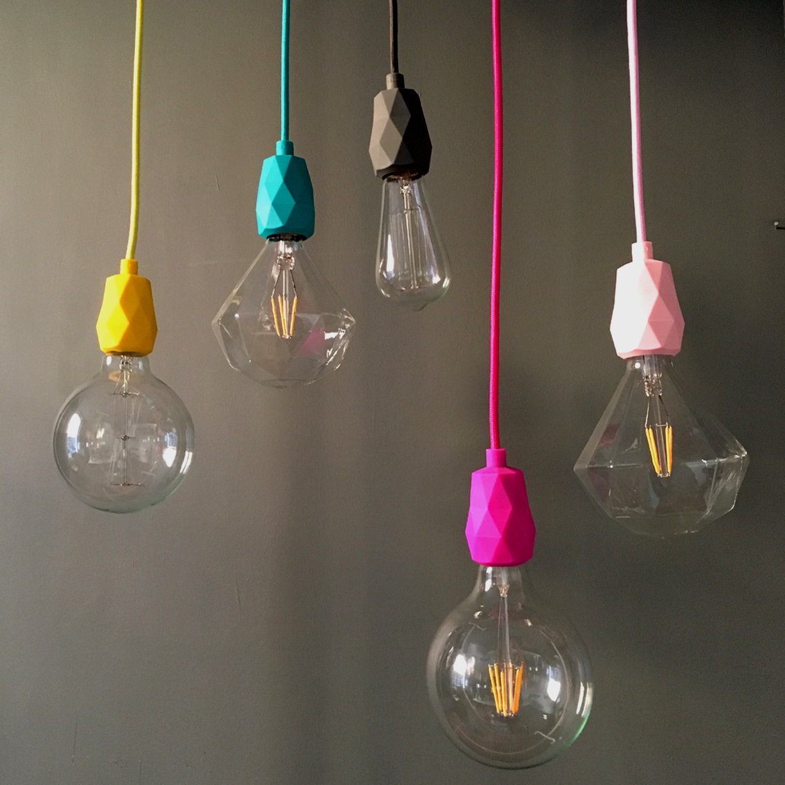 E27 Faceted Silicone Pendant Light Fitting In Yellow
