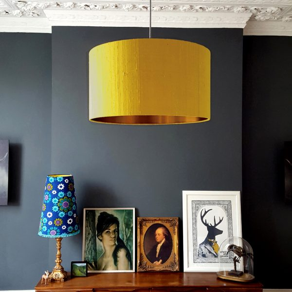 Indian Silk Lampshade in Mustard With Brushed Copper Lining