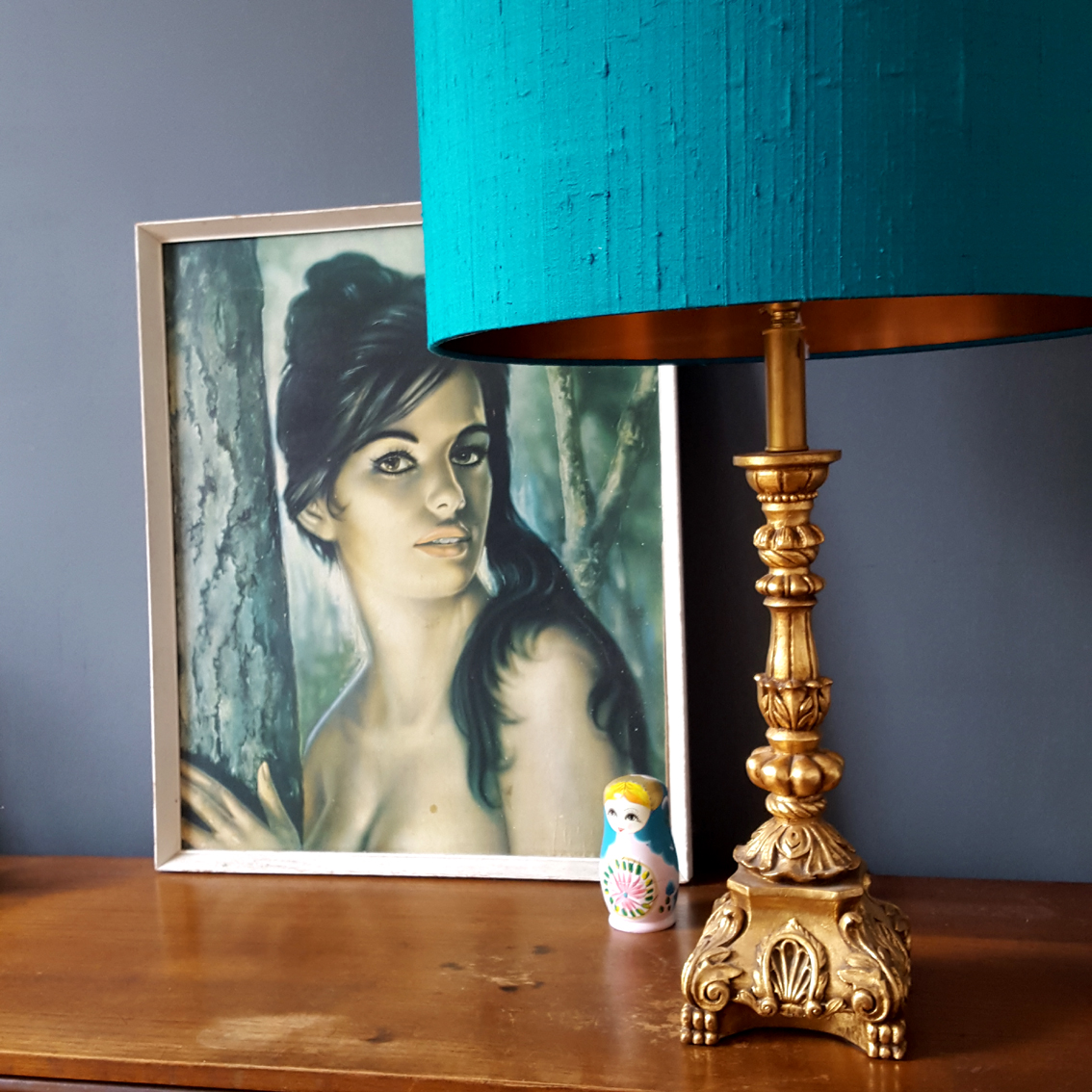 Indian Silk Lampshade In Teal With Brushed Copper Lining