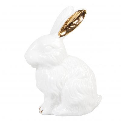 White and gold bunny ornament