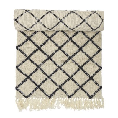 Natural Black and Cream Diamond Rug