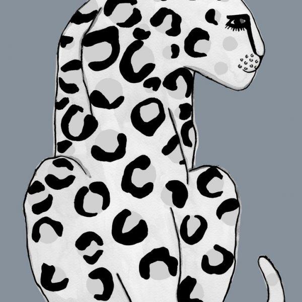 Grey Leopard Art Print
