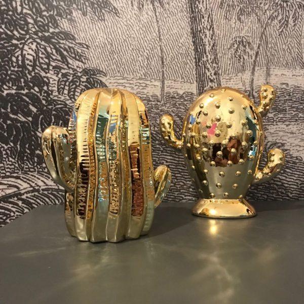 Set of 2 gold cactus ornaments