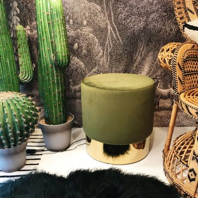 Moss Green & Gold Velvet Stool