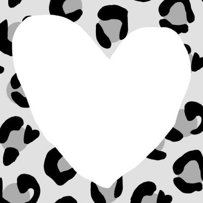 Grey leopard love heart art print