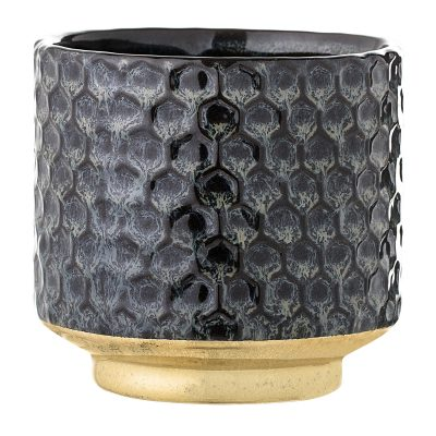 Midnight Blue & Gold Flowerpot