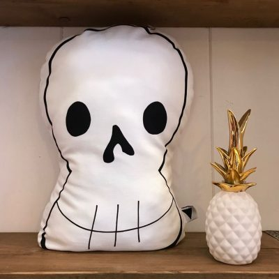 Chops! White Skull Cushion