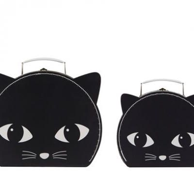 Set of 2 Black Cat Suitcases