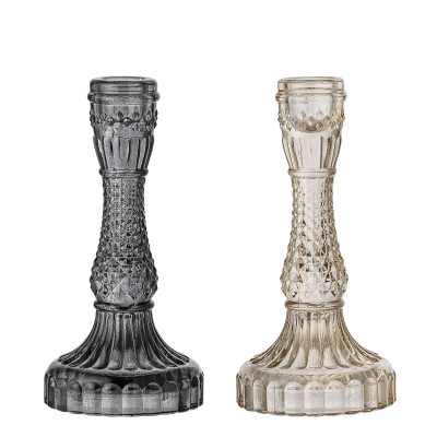 Ornate Glass Candlesticks Available in Smoke or Ash