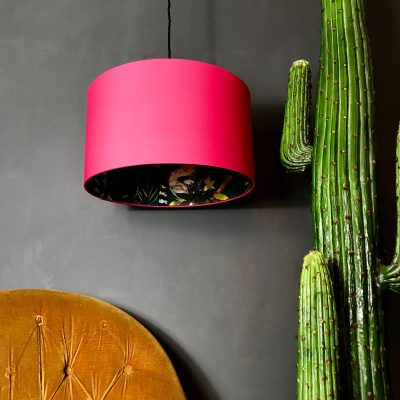Watermelon Pink and Teal Lemur wallpaper lampshade