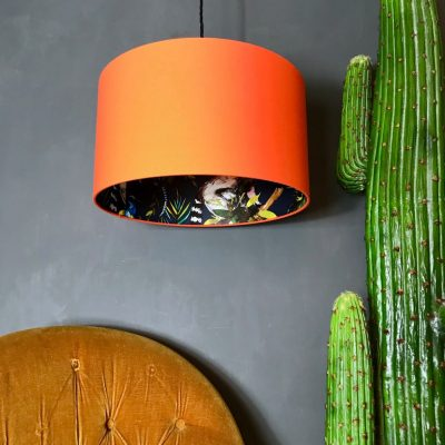 Midnight Blue Lemur Silhouette Lampshade in Tangerine
