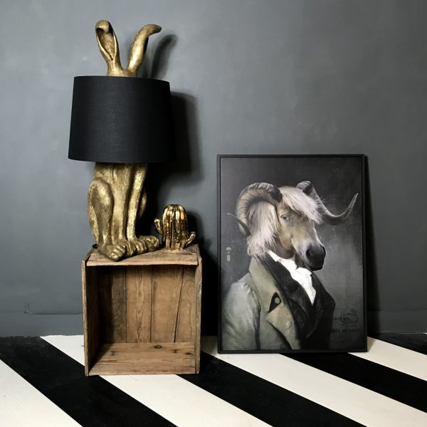 Hiding Hare Antique Gold Table Lamp And Black Shade Love