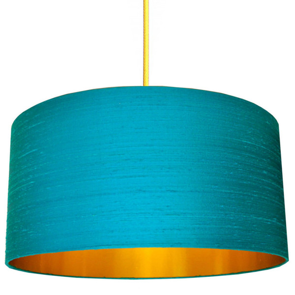 Aqua and Gold Lampshade