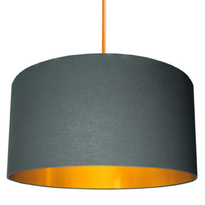 Slate Grey Cotton Lampshade with Gold Lining designed by Love Frankie, Creative Lighting & Interiors Store