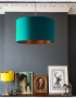 Teal and copper lampshade
