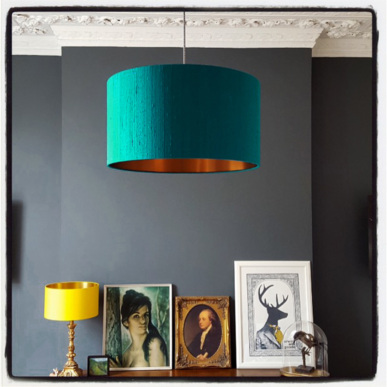 Indian silk lampshade in teal with brushed copper lining love frankie teal and copper lampshade aloadofball Image collections